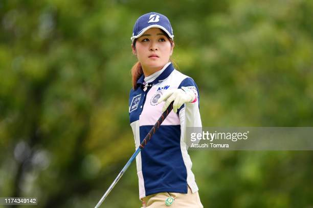 Kana Mikashima of Japan is seen after her tee shot on the 13th hole during the second round of the 52nd LPGA Championship Konica Minolta Cup at the...