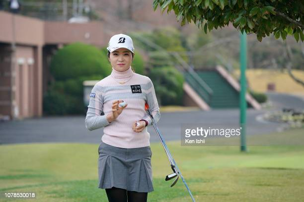 Kana Mikashima of Japan poses for photos during the final round of the LPGA Rookies Championship Kaga Electronics Cup at the Great Island Club on...