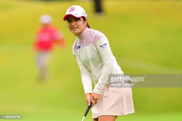 Kana Mikashima of Japan reacts after a putt on the 10th green during the second round of the Nobuta Group Masters GC Ladies at Masters Golf Club on...