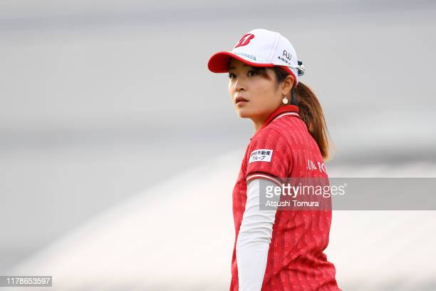 Kana Mikashima of Japan reacts after her tee shot on the 10th hole during the first round of the Japan Women's Open Championship at Cocopa Resort...