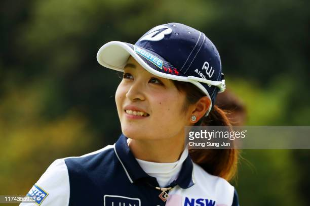 Kana Mikashima of Japan smiles after holing out with the birdie on the 18th green during the second round of the 52nd LPGA Championship Konica...