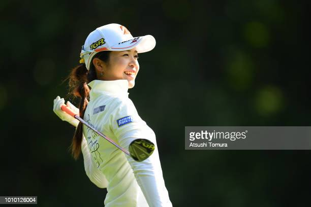 Kana Mikashima of Japan smiles during the first round of the Hokkaido meiji Cup at the Sapporo International Country Club Shimamatu Course on August...