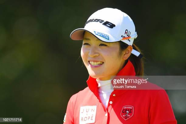 Kana Mikashima of Japan smiles during the first round of the Nitori Ladies at Otaru Country Club on August 23 2018 in Otaru Hokkaido Japan