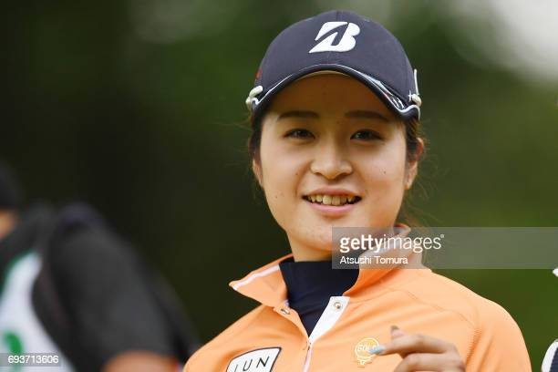 Kana Mikashima of Japan smiles during the first round of the Suntory Ladies Open at the Rokko Kokusai Golf Club on June 8 2017 in Kobe Japan