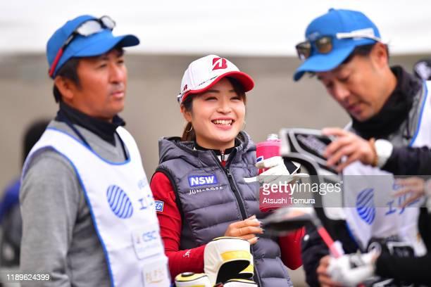 Kana Mikashima of Japan smiles on the 10th tee during the final round of the Daio Paper Elleair Ladies at Elleair Golf Club Matsuyama on November 24...