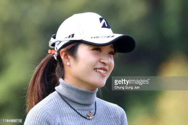 Kana Mikashima of Japan smiles on the 2nd tee during the second round of the Hisako Higuchi Mitsubishi Electric Ladies at Musashigaoka Golf Course on...