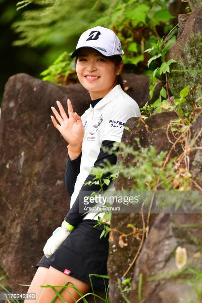 Kana Mikashima of Japan waves on the 5th hole during the final round of the Descente Ladies Tokai Classic at Shin Minami Aichi Country Club Mihama...
