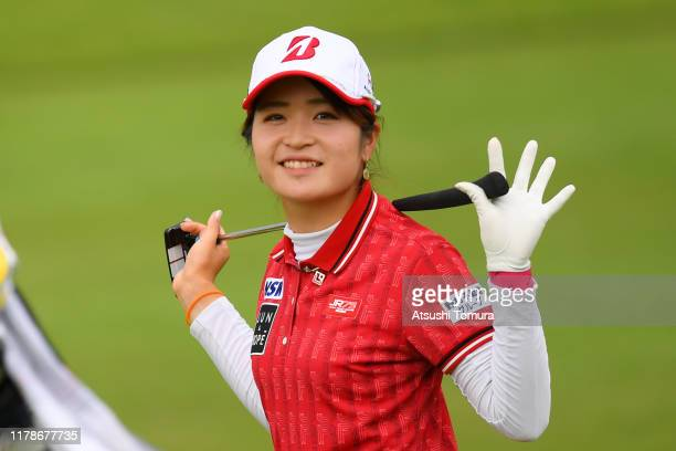 Kana Mikashima of Japan waves on the 5th hole during the first round of the Japan Women's Open Championship at Cocopa Resort Club Hakusan Village...