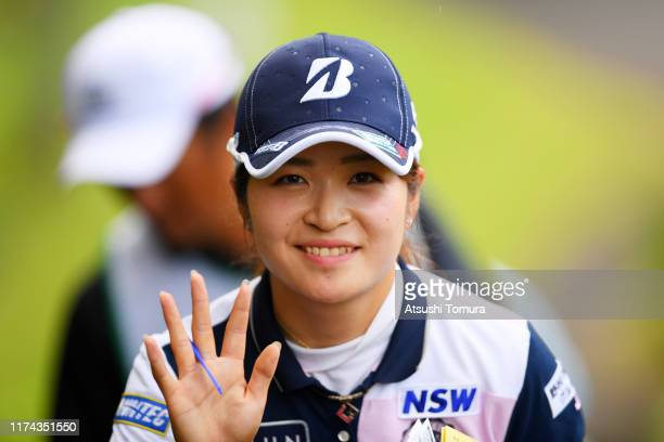 Kana Mikashima of Japan waves on the way to 14th hole during the second round of the 52nd LPGA Championship Konica Minolta Cup at the Cherry Hills...