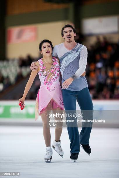 Kana Muramoto and Chris Reed of Japan compete in the Ice Dance Free Dance during the Nebelhorn Trophy 2017 at Eissportzentrum on September 30 2017 in...