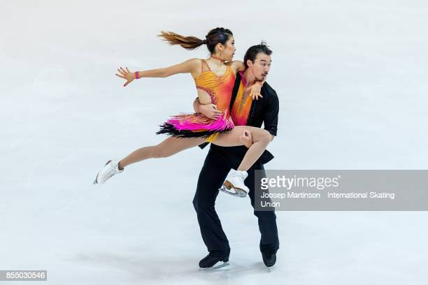 Kana Muramoto and Chris Reed of Japan compete in the Ice Dance Short Dance during the Nebelhorn Trophy 2017 at Eissportzentrum on September 28 2017...