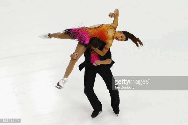 Kana Muramoto and Chris Reed of Japan compete in the Ice Dance Short Dance during day two of 2017 Bridgestone Skate America at Herb Brooks Arena on...