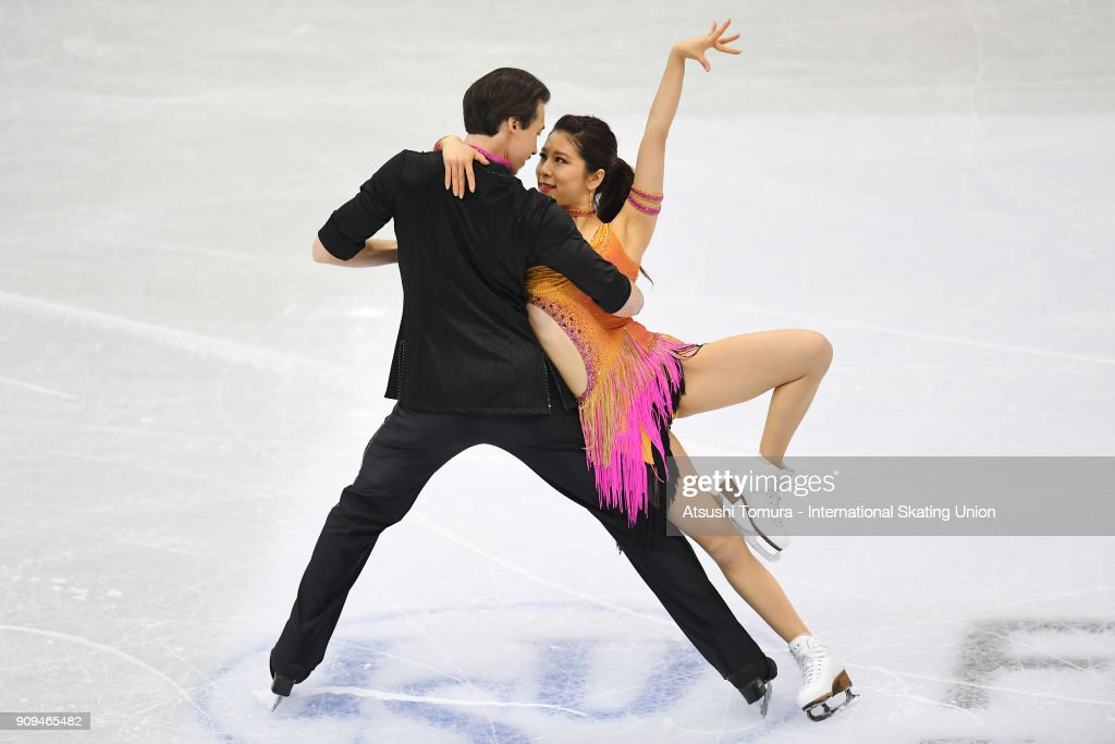 Kana Muramoto and Chris Reed of Japan compete in the ice dance short dance during the Four Continents Figure Skating Championships at Taipei Arena on January 24, 2018 in Taipei, Taiwan.