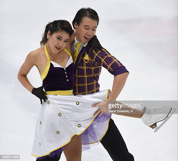 Kana Muramoto and Chris Reed of Japan compete in the short dance program at the US International Figure Skating Classic Day 2 at the Salt Lake City...