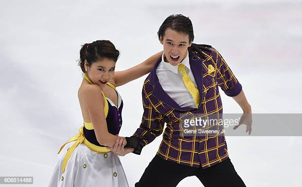 Kana Muramoto and Chris Reed of Japan compete in the short dance program at the U.S. International Figure Skating Classic -Day 2 at the Salt Lake...