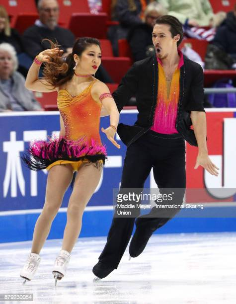 Kana Muramoto and Chris Reed of Japan perform in the Ice Dance short program on Day 2 of the ISU Grand Prix of Figure Skating at Herb Brooks Arena on...
