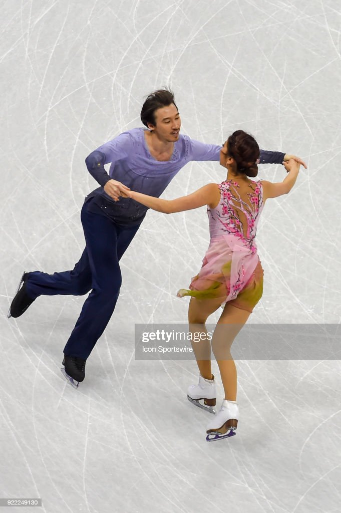 Kana Muramoto and Chris Reed (JPN) skate in the free dance of the Ice Dancing competition during the 2018 Winter Olympic Games at the Gangneung Ice Arena on February 20, 2018 in PyeongChang, South Korea.