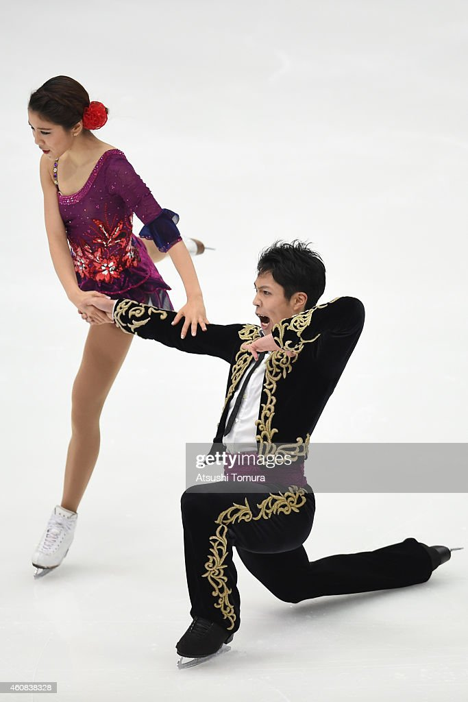 Kana Muramoto and Hiroichi Noguchi of Japan compete in the Ice Dance Short Dance during the 83rd All Japan Figure Skating Championships at Big Hat on December 26, 2014 in Nagano, Japan.