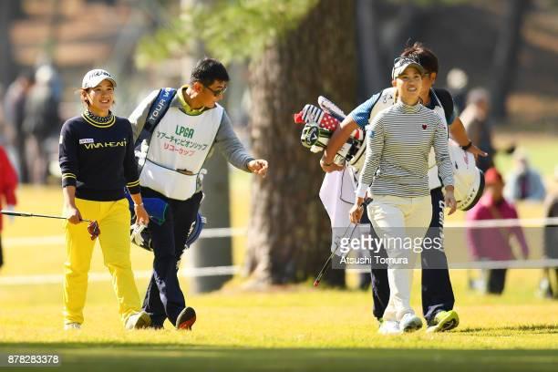 Kana Nagai and Momoko Ueda of Jpan smile during the second round of the LPGA Tour Championship Ricoh Cup 2017 at the Miyazaki Country Club on...