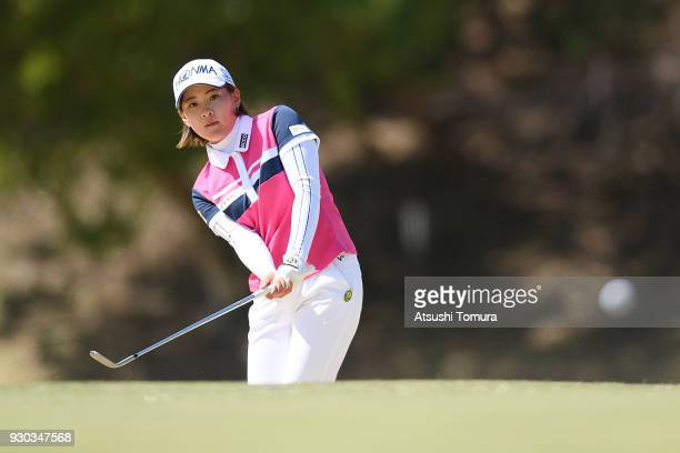 Kana Nagai of Japan chips onto the 11th green during the final round of the Tokohama Tire PRGR Ladies Cup at Tosa Country Club on March 11 2018 in...