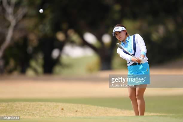 Kana Nagai of Japan chips onto the 6th green during the final round of the Yamaha Ladies Open Katsuragi at the Katsuragi Golf Club on April 1 2018 in...