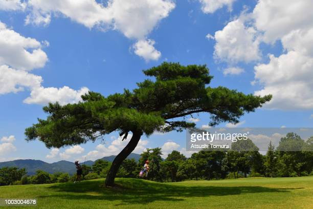 Sakura Koiwai of Japan smiles during the second round of the Century 21 Ladies Golf Tournament at the Seta Golf Course West Course on July 21 2018 in...