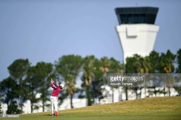Kana Nagai of Japan hits her second shot on the 2nd hole during the first round of the LPGA Tour Championship Ricoh Cup 2017 at the Miyazaki Country...