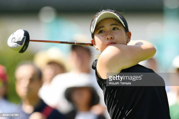 Kana Nagai of Japan hits her tee shot on the 10th hole during the third round of the Nitori Ladies 2017 at the Otaru Country Club on August 26 2017...