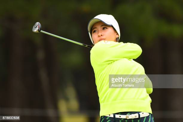 Kana Nagai of Japan hits her tee shot on the 15th hole during the third round of the LPGA Tour Championship Ricoh Cup 2017 at the Miyazaki Country...
