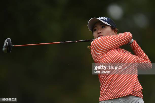 Kana Nagai of Japan hits her tee shot on the 1st hole during the first round of the Fujitsu Ladies 2017 at the Tokyu Seven Hundred Club on October 13...