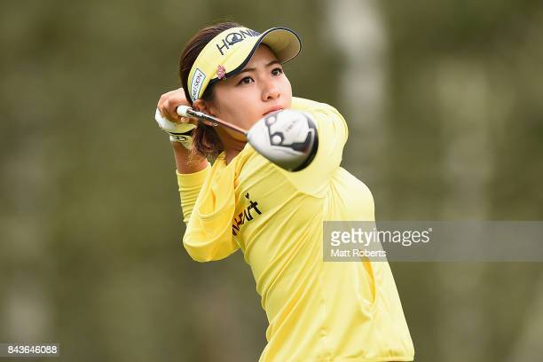 Kana Nagai of Japan hits her tee shot on the 4th hole during the first round of the 50th LPGA Championship Konica Minolta Cup 2017 at the Appi Kogen...