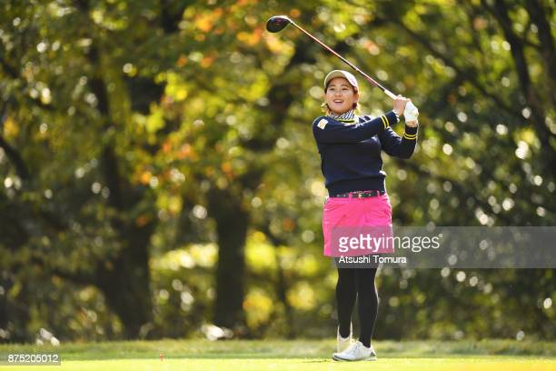 Kana Nagai of Japan hits her tee shot on the 5th hole during the second round of the Daio Paper Elleair Ladies Open 2017 at the Elleair Golf Club on...