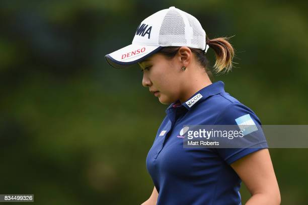 Kana Nagai of Japan looks on during the first round of the CAT Ladies Golf Tournament HAKONE JAPAN 2017 at the Daihakone Country Club on August 18...