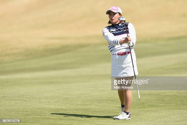 Kana Nagai of Japan plays her second shot on the 8th hole during the final round of the AXA Ladies Golf Tournament In Miyazaki at the UMK Country...