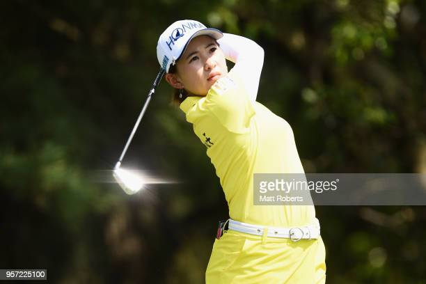 Kana Nagai of Japan plays her tee shot on the 12th hole during the first round of the Hoken No Madoguchi Ladies at the Fukuoka Country Club on May 11...