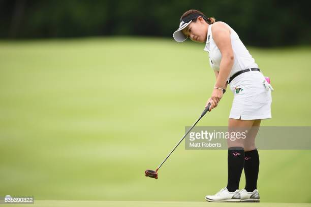 Kana Nagai of Japan putts on the 11th green during the second round of the CAT Ladies Golf Tournament HAKONE JAPAN 2017 at the Daihakone Country Club...