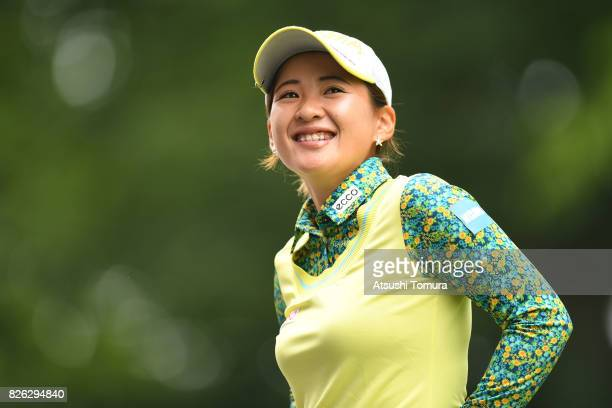 Kana Nagai of Japan smiles during the first round of the meiji Cup 2017 at the Sapporo Kokusai Country Club Shimamatsu Course on August 4 2017 in...