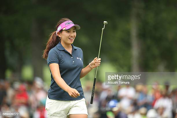Kana Nagai of Japan smiles during the fnal round of the NEC Karuizawa 72 Golf Tournament 2016 at the Karuizawa 72 Golf North Course on August 14 2016...
