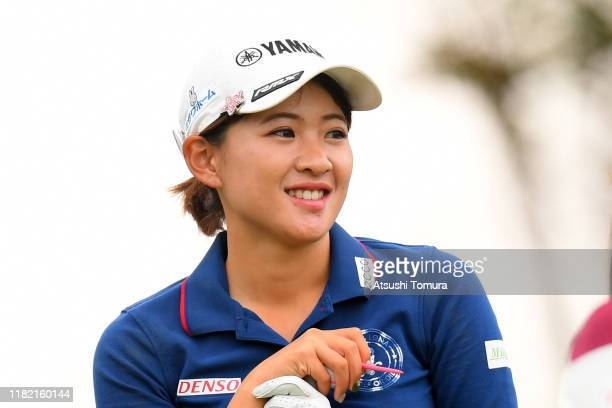 Kana Nagai of Japan smiles on the 1st tee during the final round of Fujitsu Ladies at Tokyu Seven Hundred Club on October 20 2019 in Chiba Japan