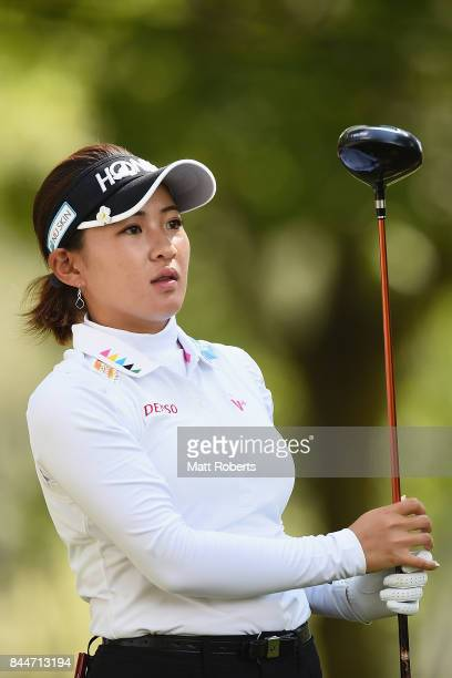 Kana Nagai of Japan watches her tee shot on the 5th hole during the third round of the 50th LPGA Championship Konica Minolta Cup 2017 at the Appi...