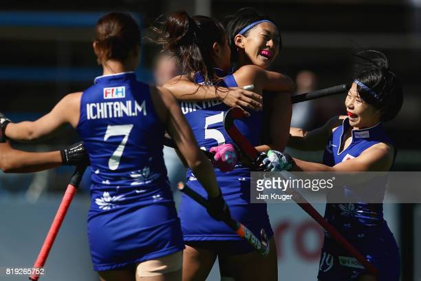 Kana Nomura of Japan celebrates scoring a goal with her team mates during the 5th8th Place playoff match between India and Japan during Day 7 of the...