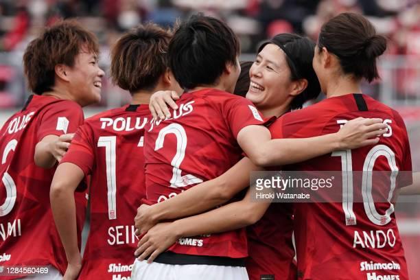 Kana Osafune of Urawa Red Diamonds Ladies celebrates scoring her team's first goal during the Nadeshiko League match between Urawa Red Diamonds...