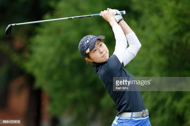 Kana Shibata plays her tee shot on the second hole during the final round of the Hanasaka Ladies Yanmar Golf Tournament at the Biwako Country Club on...