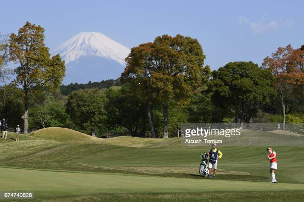 Kana Taneda of Japan hits her third shot on the 1st hole during the second round of the CyberAgent Ladies Golf Tournament at the Grand Fields Country...