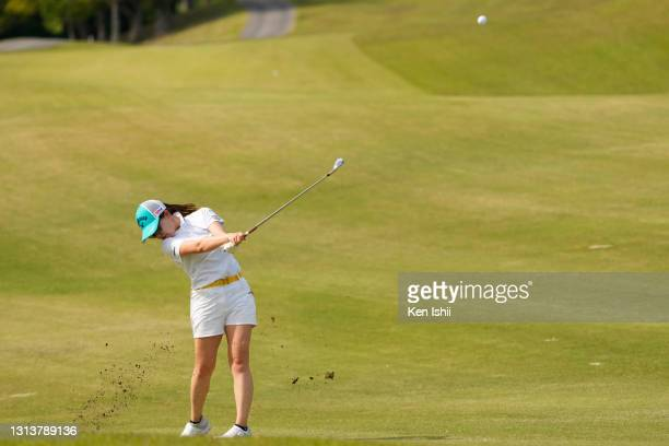 Kana Taneda of Japan plays her shot on the 18th hole during the first round of the KCFG Ladies Madonoume Cup at the Takeo Golf Club on April 22, 2021...