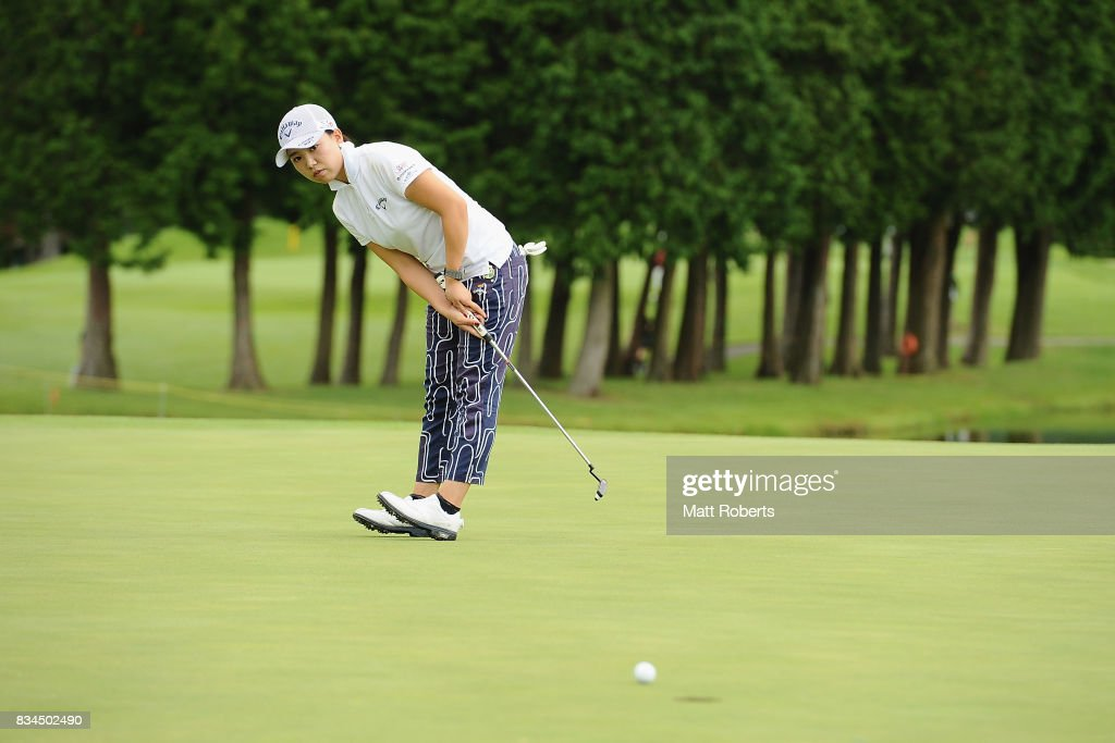 Kana Taneda of Japan reacts after her putt on the 3rd hole during the first round of the CAT Ladies Golf Tournament HAKONE JAPAN 2017 at the Daihakone Country Club on August 18, 2017 in Hakone, Kanagawa, Japan.