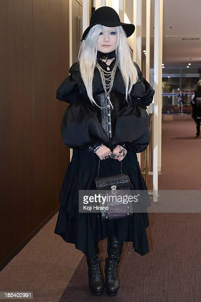 Kana wears a dress by Alice Auaa and carried a bag by Alice Auaa at MercedesBenz Fashion Week Tokyo Spring/Summer 2014 at Hikarie after the ranway...
