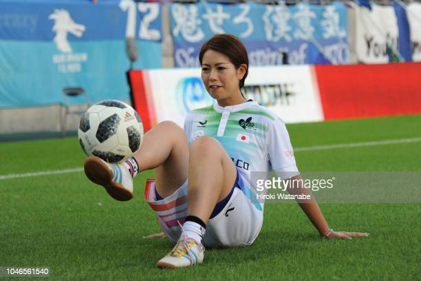 Kanae Sugawara of Taq ball Japan national team in action prior to the JLeague J2 match between Omiya Ardija and Mito HollyHock at Nack 5 Stadium...