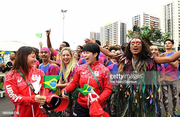 Kanae Yagi and Namika Matsumoto attend the welcome ceremony at the Athletes Village ahead of the Rio 2016 Olympic Games on August 2 2016 in Rio de...
