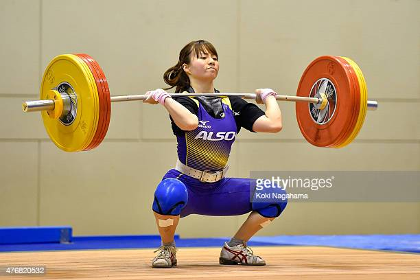 Kanae Yagi competes in women's 53kg group during the All Japan Weight Lifting Championships 2015 at the General Gymnasium of Iwaki City on June 12...